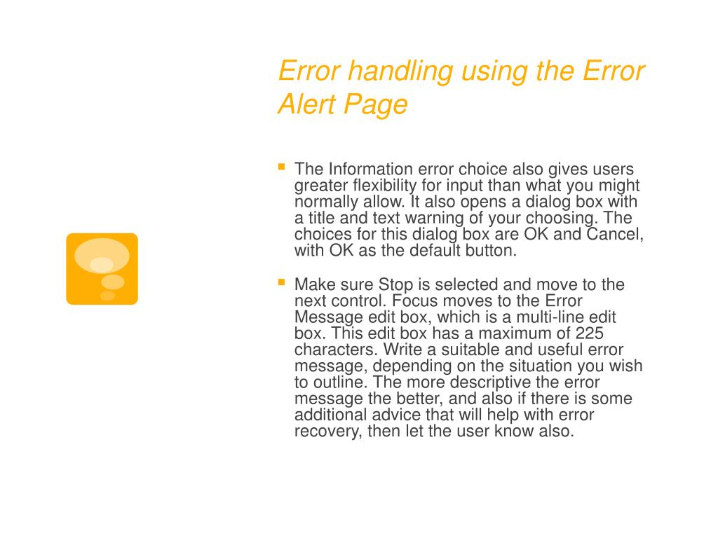 Error handling using the Error Alert Page