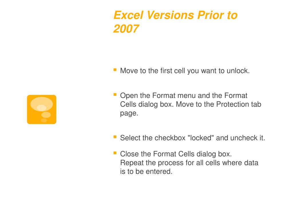 Excel Versions Prior to 2007