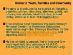 notice to youth families and community