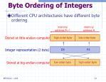 byte ordering of integers