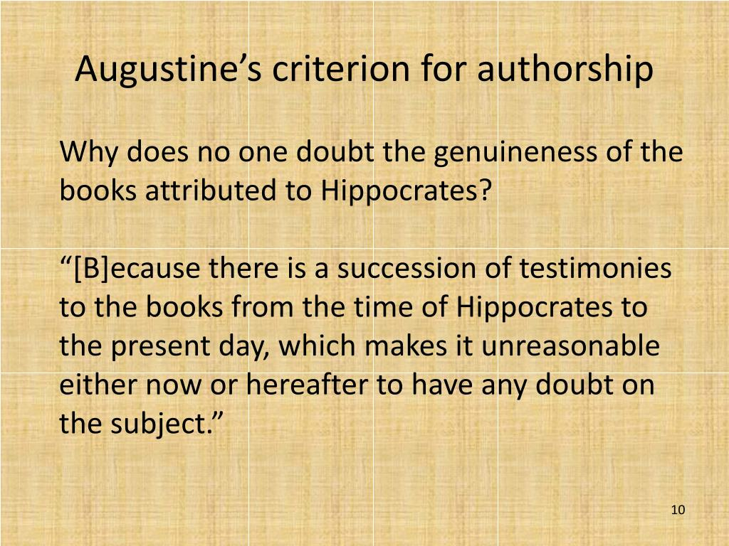 Augustine's criterion for authorship