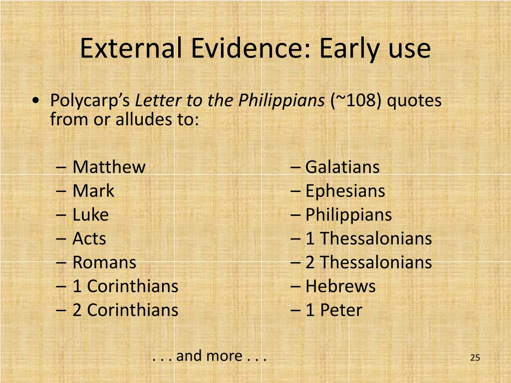 External Evidence: Early use