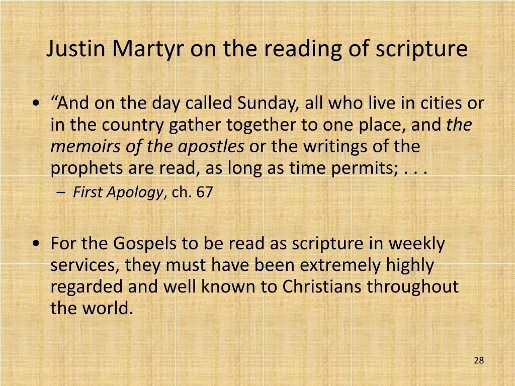 Justin Martyr on the reading of scripture