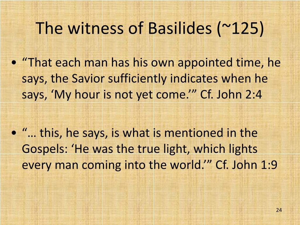 The witness of Basilides (~125)