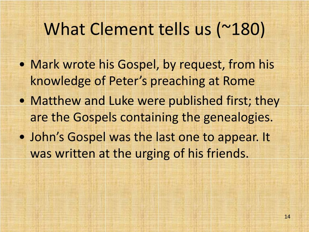 What Clement tells us (~180)