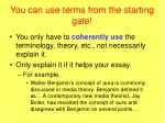 you can use terms from the starting gate5