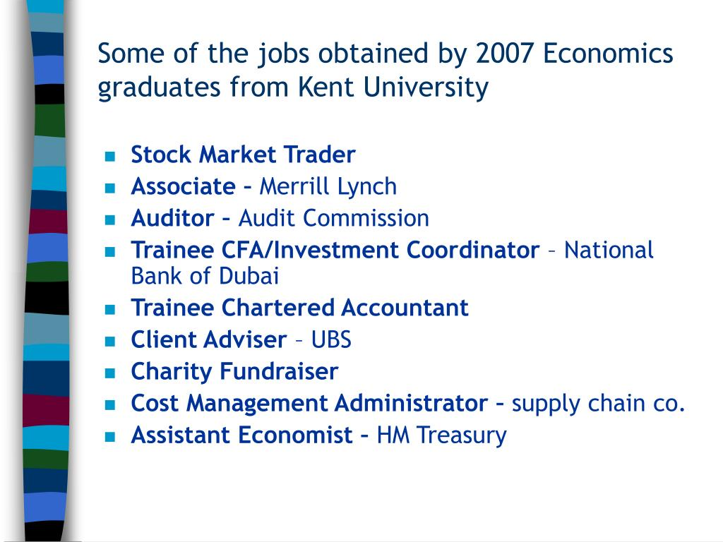 Some of the jobs obtained by 2007 Economics graduates from Kent University