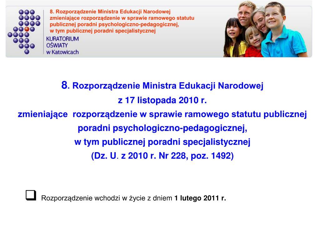 8. Rozporządzenie Ministra Edukacji Narodowej