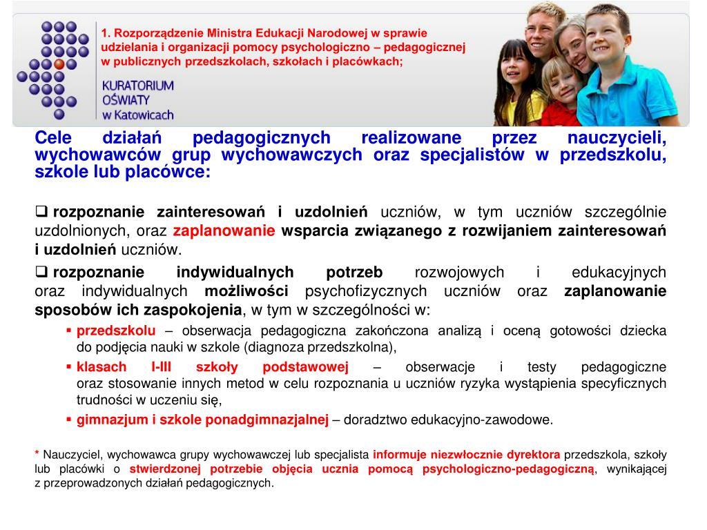 Cele działań pedagogicznych realizowane przez nauczycieli, wychowawców grup wychowawczych oraz specjalistów
