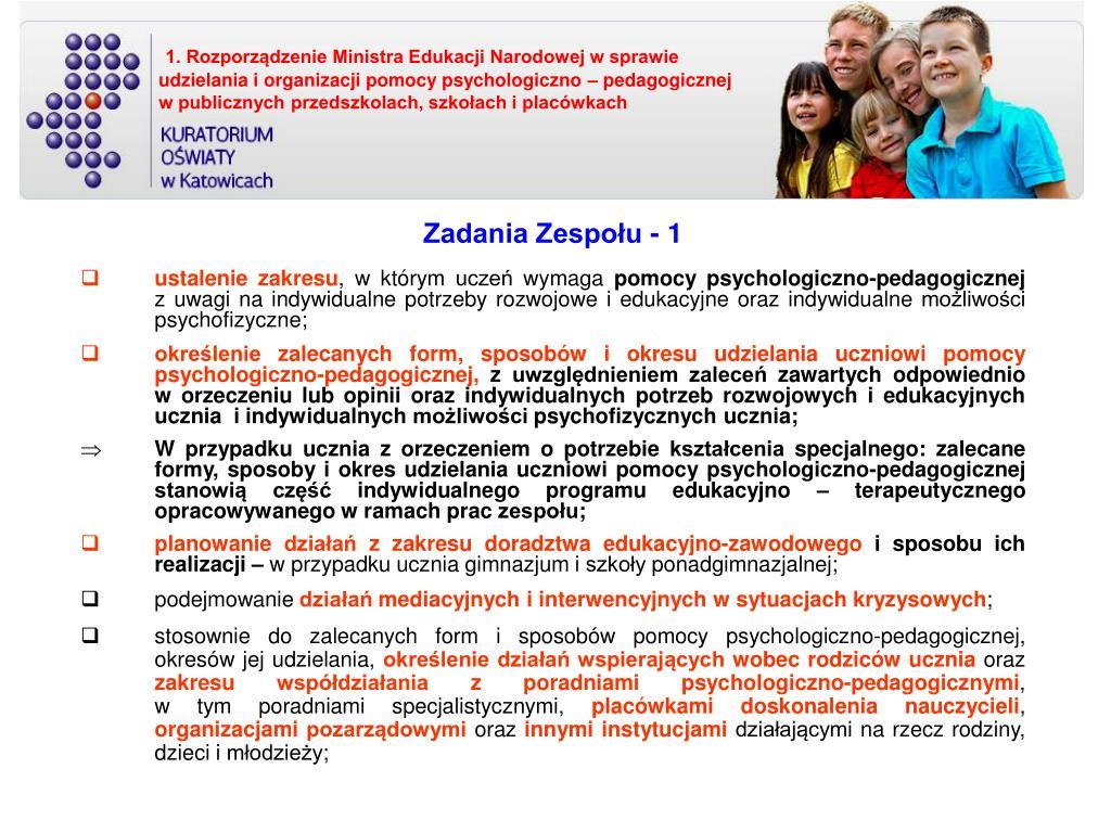 1. Rozporządzenie Ministra Edukacji Narodowej w sprawie