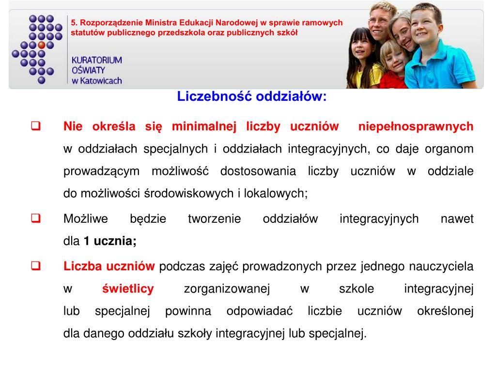 5. Rozporządzenie Ministra Edukacji Narodowej w sprawie ramowych