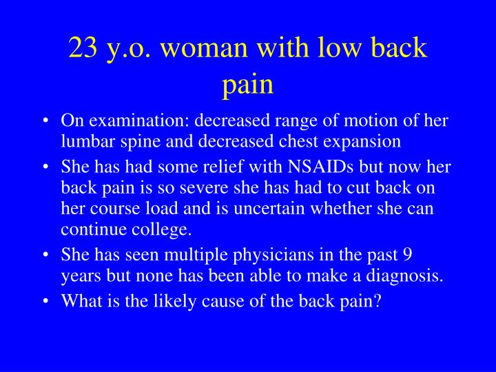 23 y o woman with low back pain3