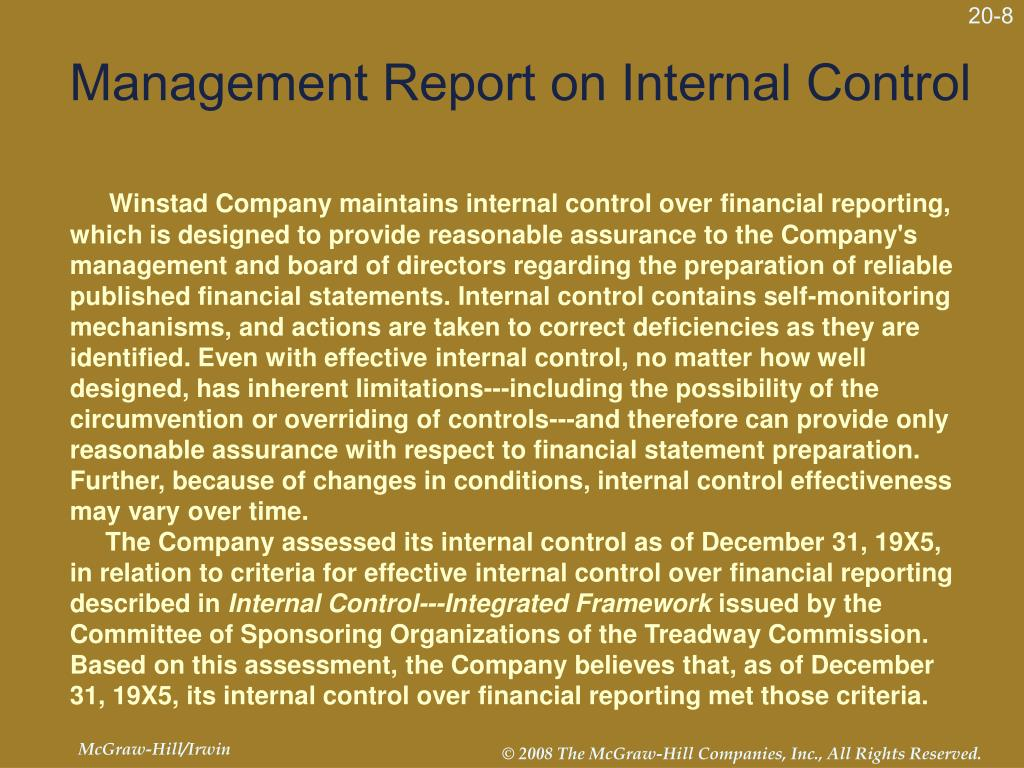 Management Report on Internal Control