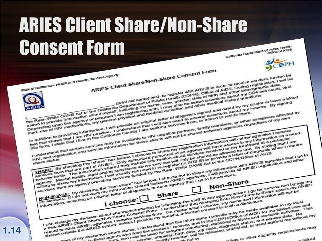 ARIES Client Share/Non-Share Consent Form