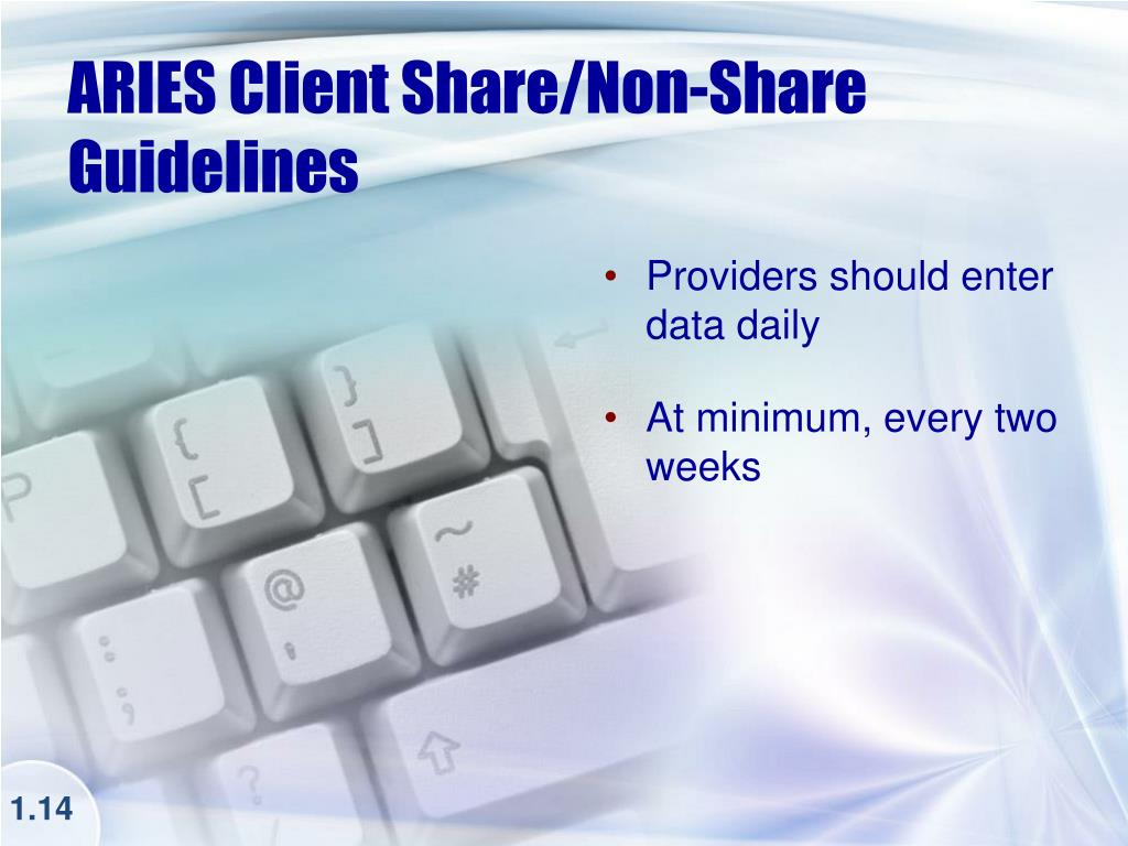 ARIES Client Share/Non-Share Guidelines