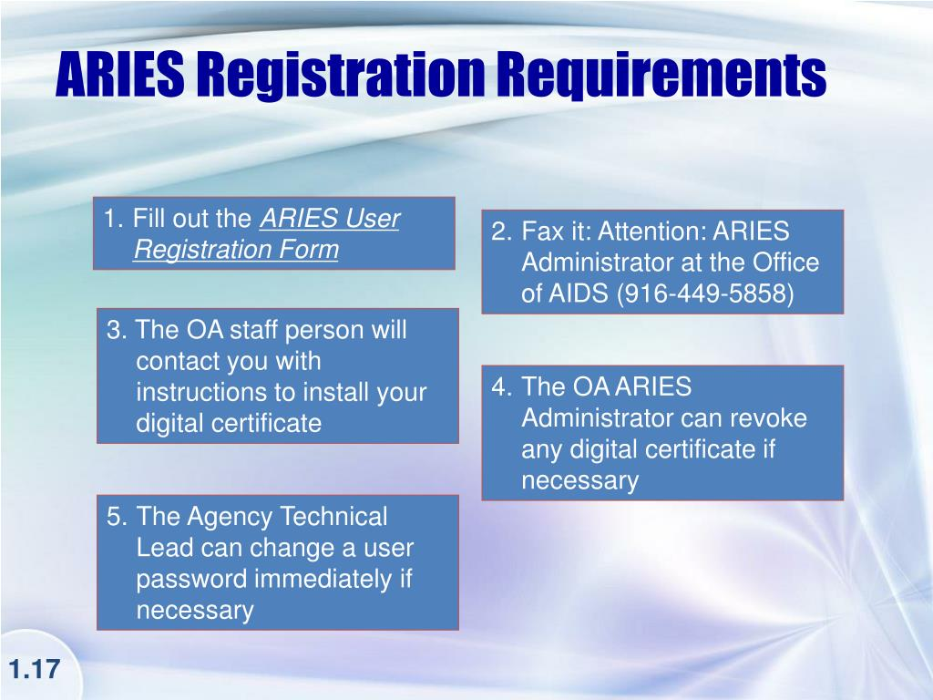 ARIES Registration Requirements