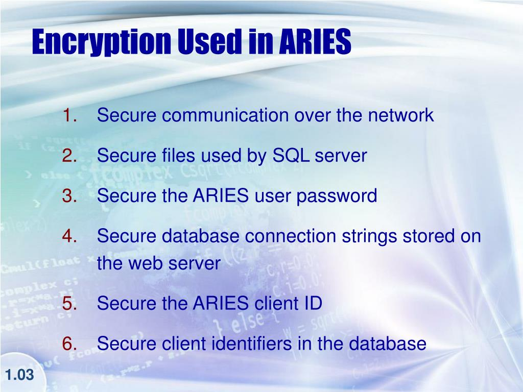 Encryption Used in ARIES