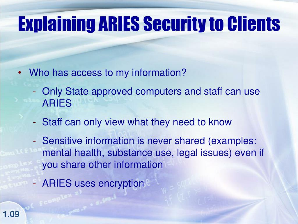 Explaining ARIES Security to Clients