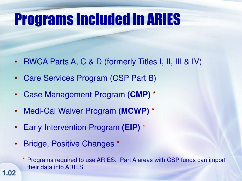 Programs Included in ARIES