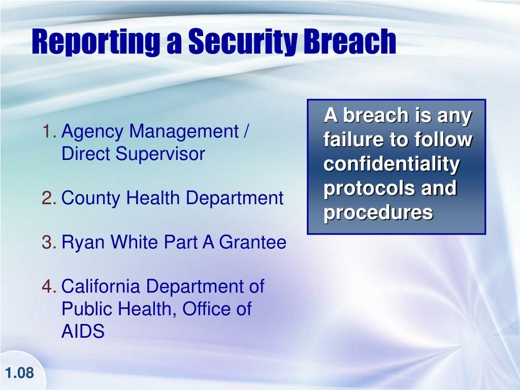 Reporting a Security Breach