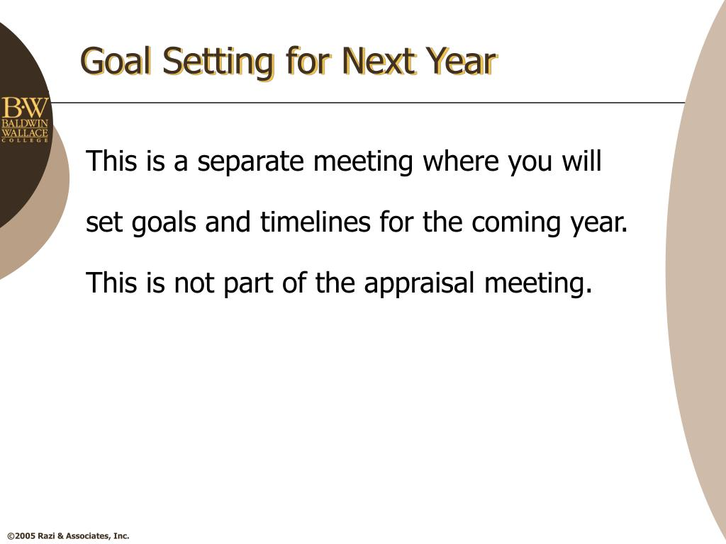 Goal Setting for Next Year