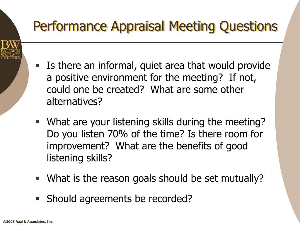 Performance Appraisal Meeting Questions