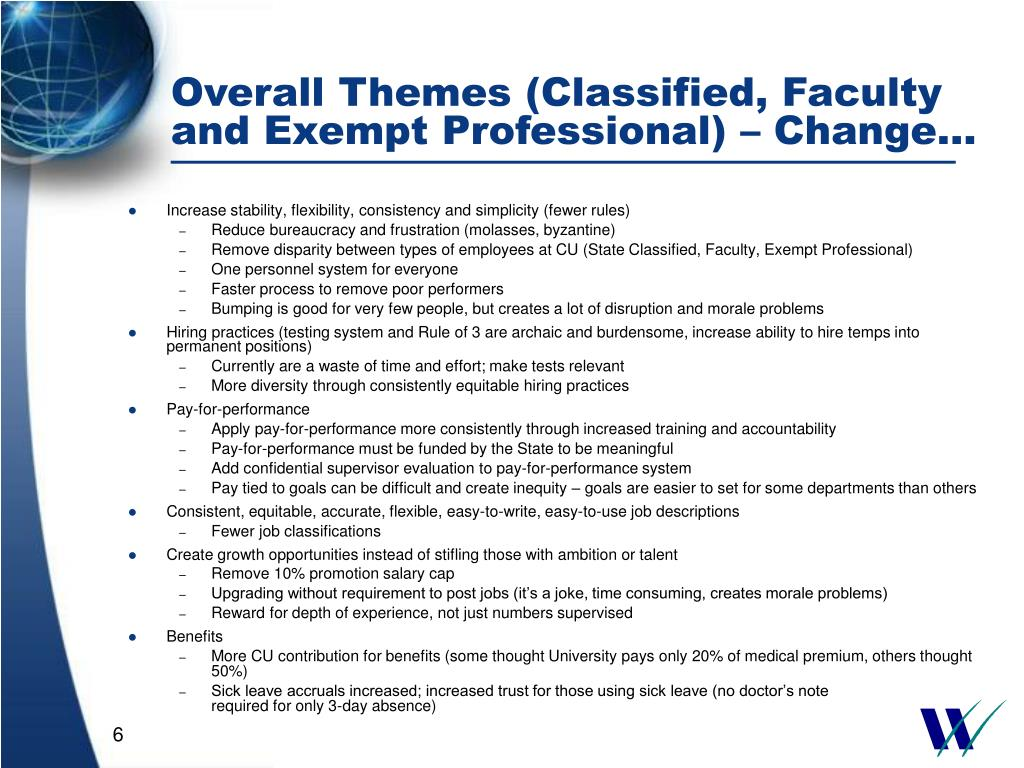 Overall Themes (Classified, Faculty and Exempt Professional) – Change…