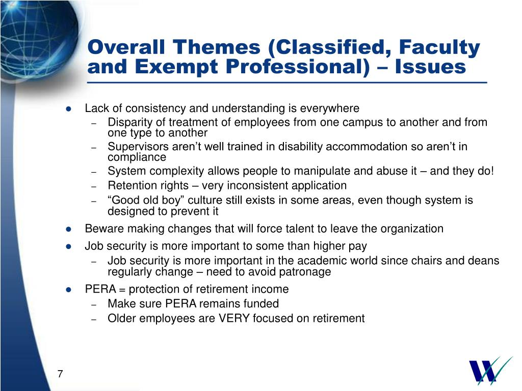 Overall Themes (Classified, Faculty and Exempt Professional) – Issues