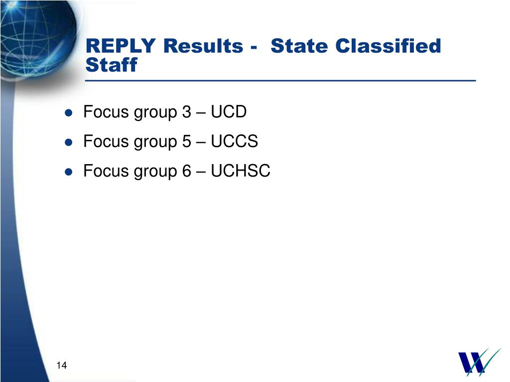REPLY Results -  State Classified Staff