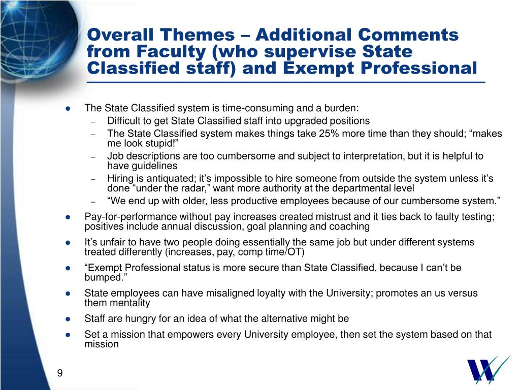 Overall Themes – Additional Comments from Faculty (who supervise State Classified staff) and Exempt Professional