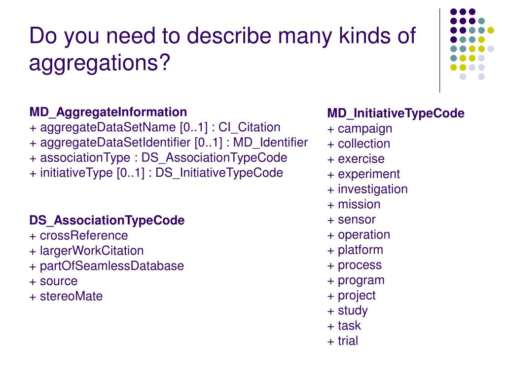 Do you need to describe many kinds of aggregations?