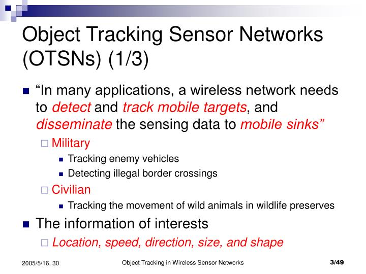 Object tracking sensor networks otsns 1 3