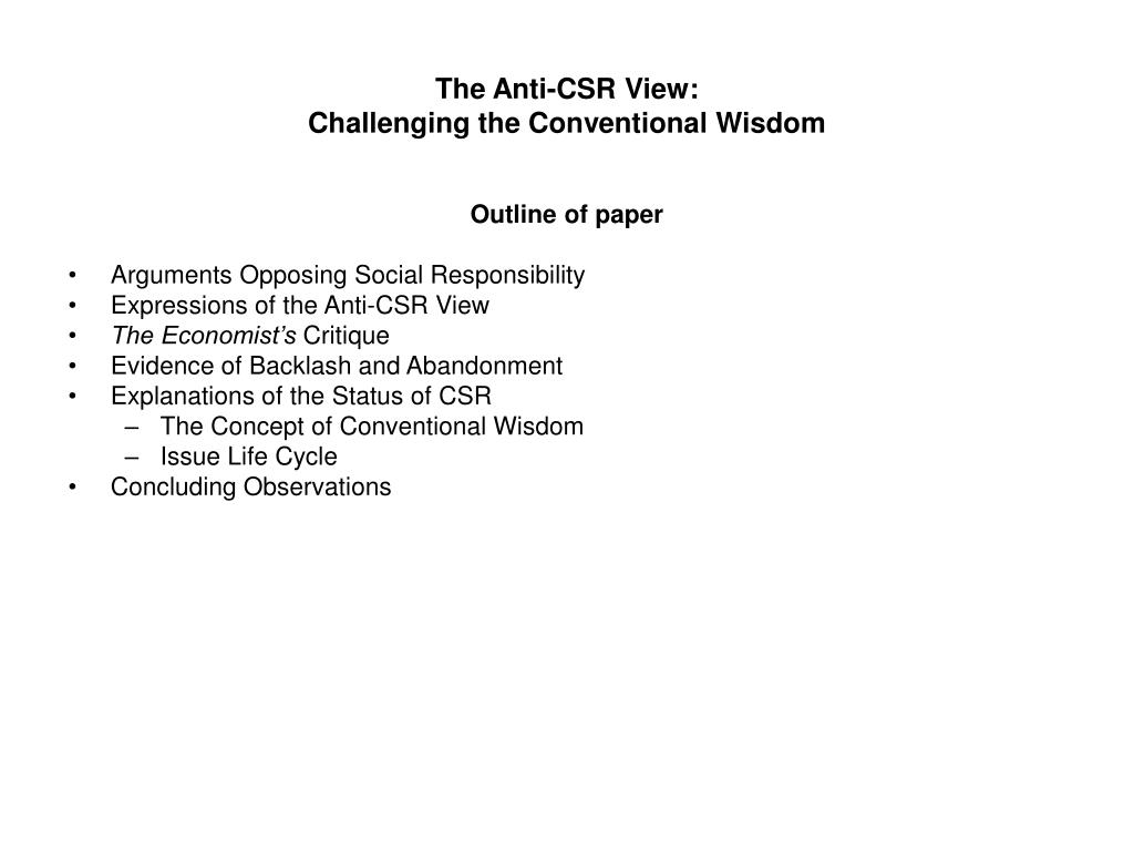 the anti csr view challenging the conventional wisdom