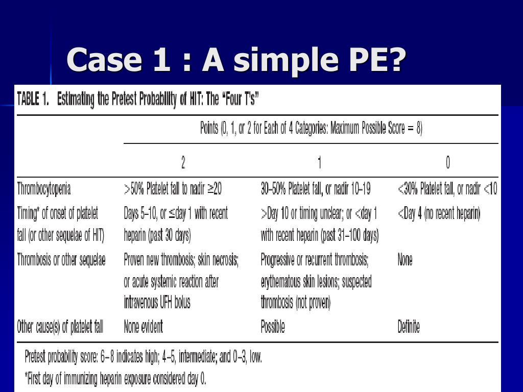 Case 1 : A simple PE?