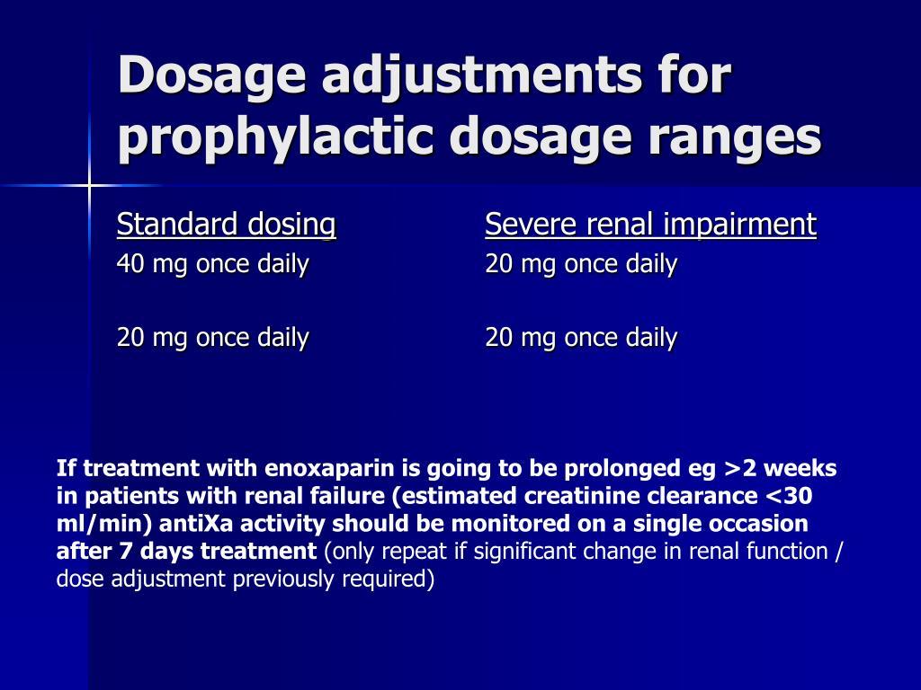 Dosage adjustments for prophylactic dosage ranges