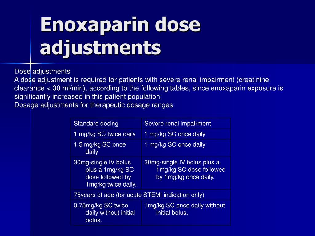 Enoxaparin dose adjustments