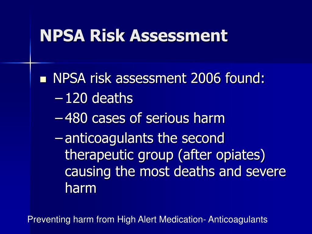 NPSA Risk Assessment