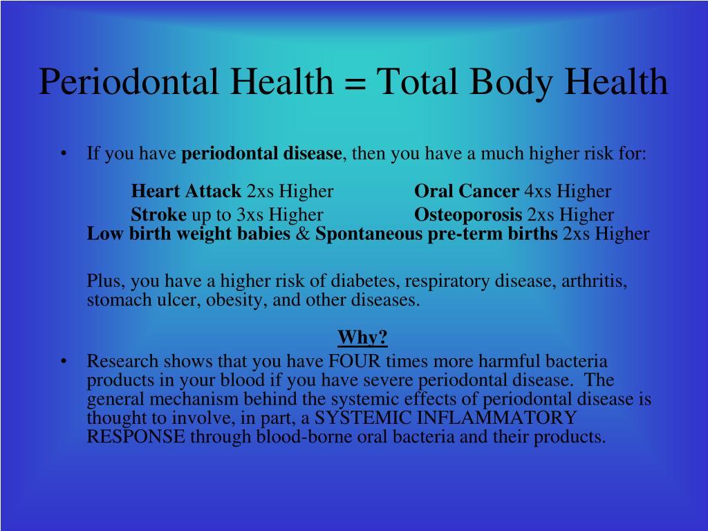 Periodontal Health = Total Body Health