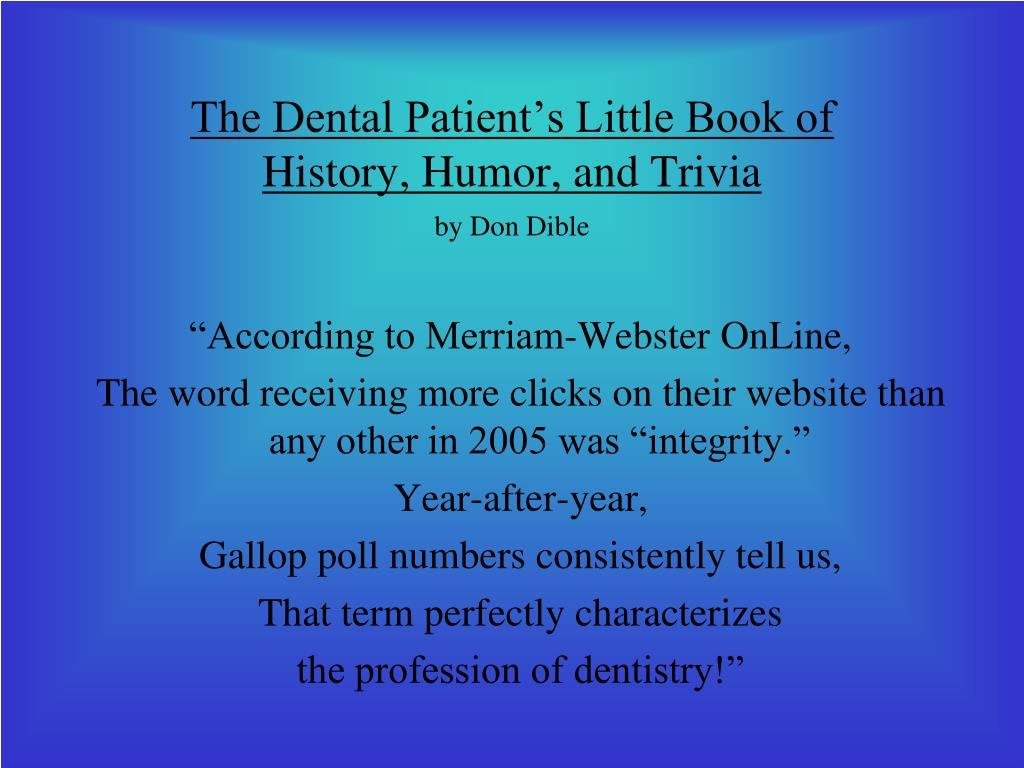 The Dental Patient's Little Book of