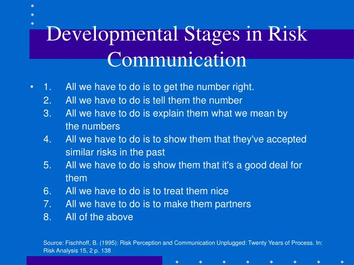 Developmental Stages in Risk Communication