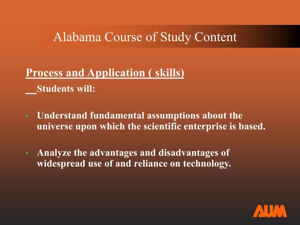 Alabama Course of Study Content