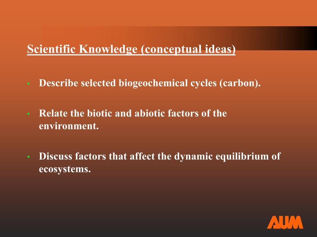 Scientific Knowledge (conceptual ideas)