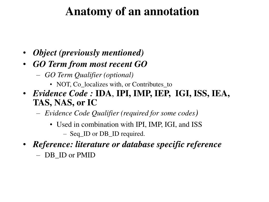 Anatomy of an annotation