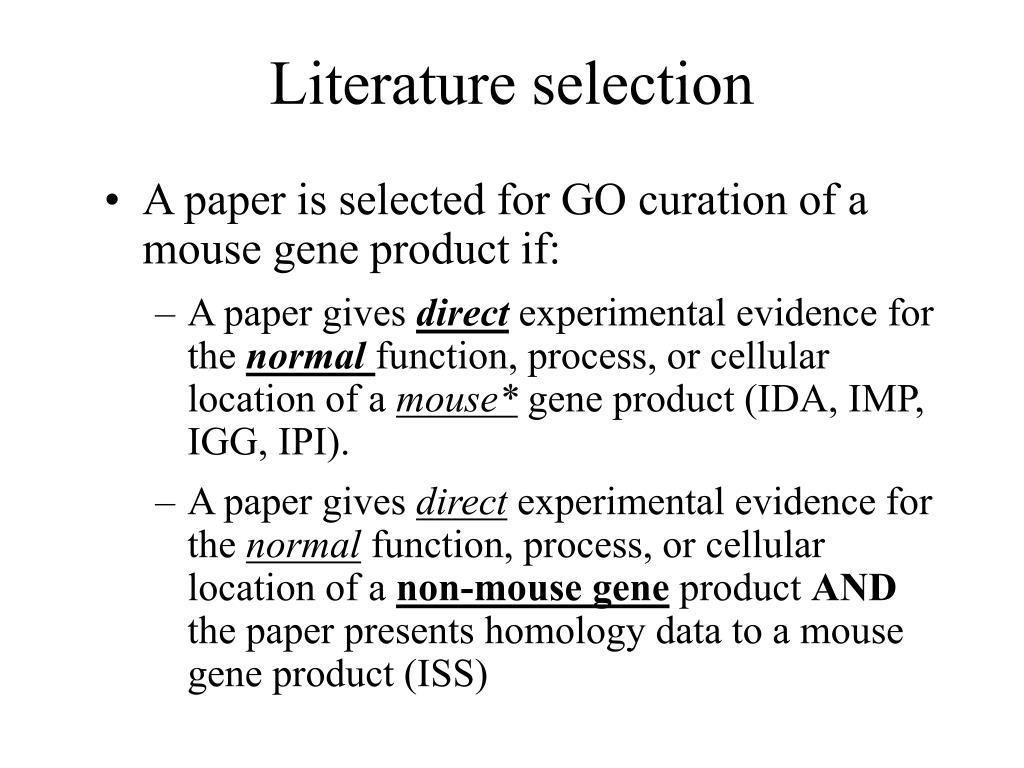 Literature selection