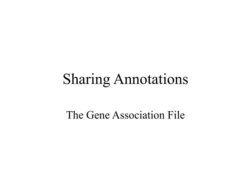 Sharing Annotations
