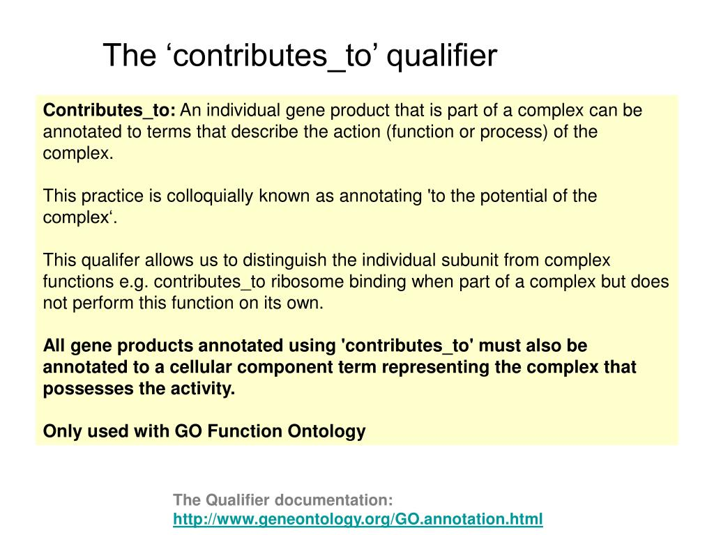 The 'contributes_to' qualifier