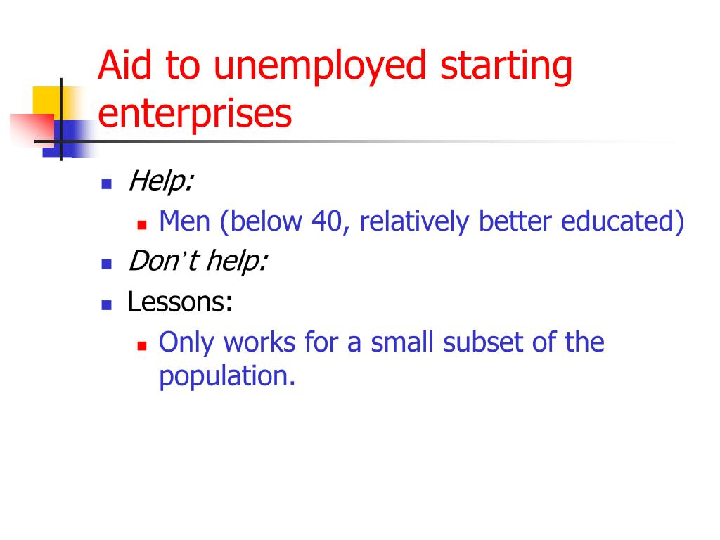 Aid to unemployed starting enterprises