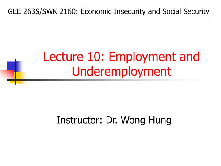 Lecture 10 employment and underemployment