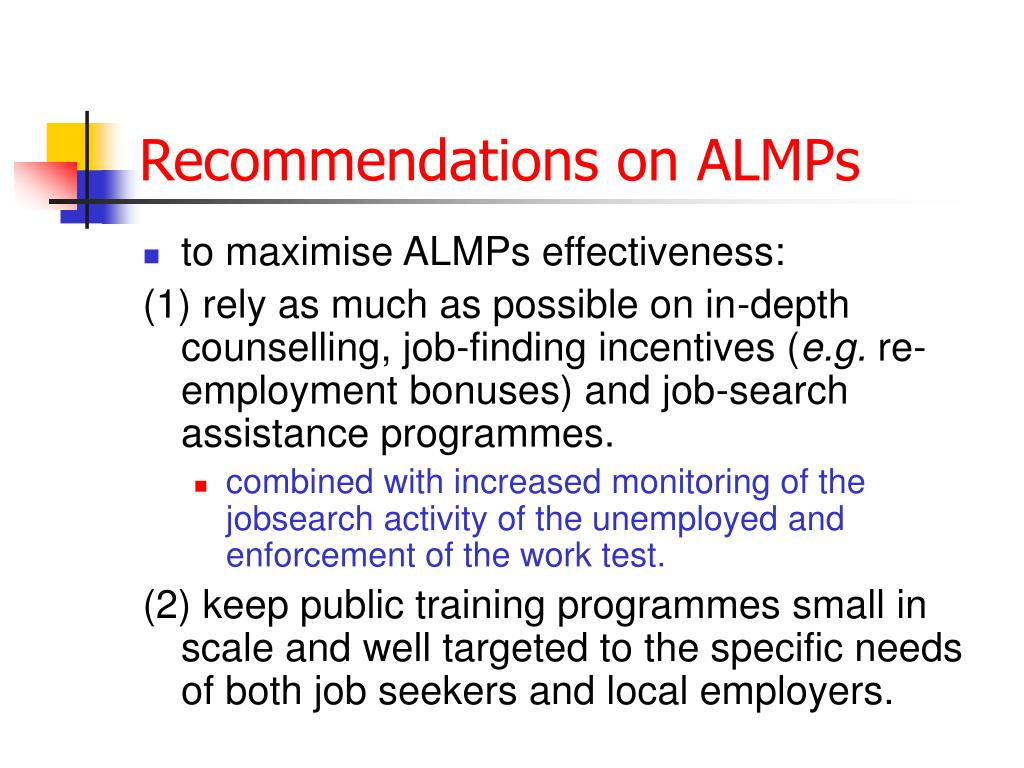 Recommendations on ALMPs