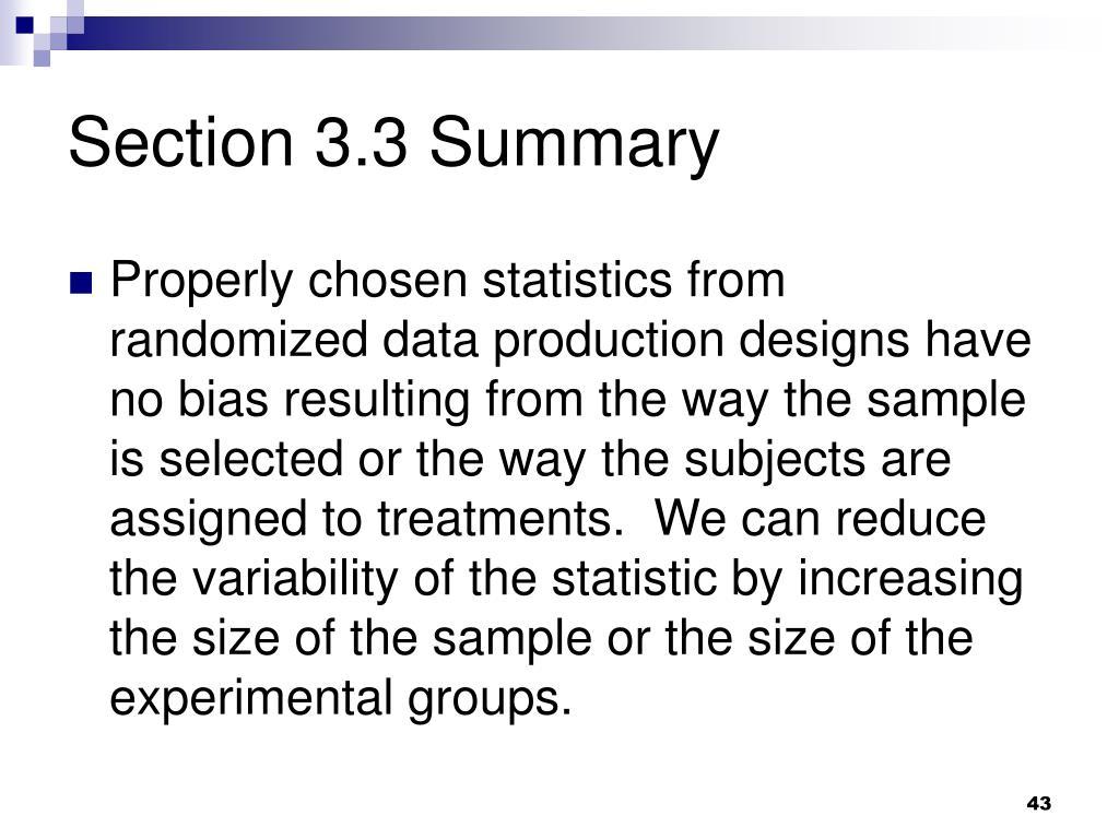 Section 3.3 Summary